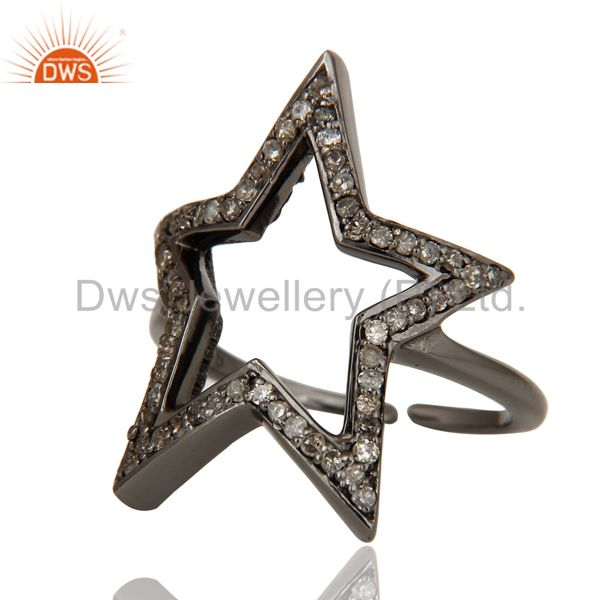 Suppliers Black Oxidized Sterling Silver Diamond Rose Cut Designer Midi Ring Jewellery