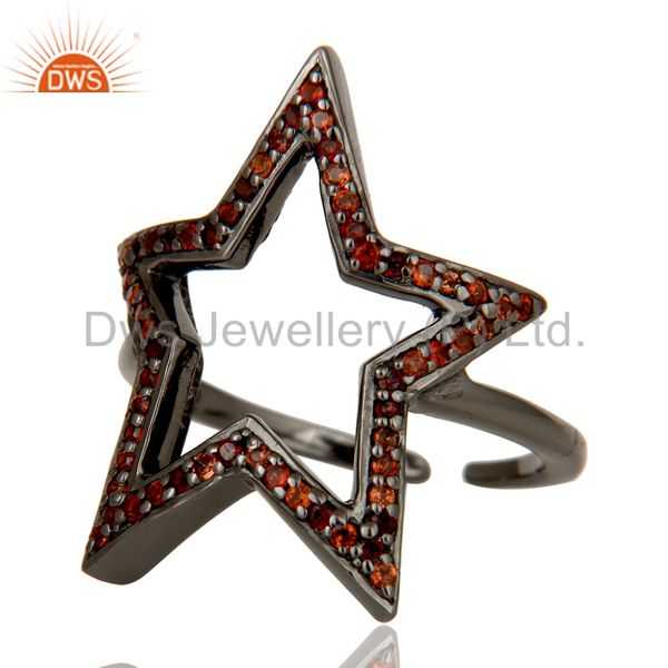 Suppliers Black Oxidized 925 Sterling Silver Garnet Round Cut Designer Midi Ring Jewellery