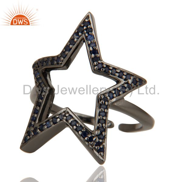 Suppliers Black Oxidized 925 Sterling Silver Blue Sapphire Designer Midi Ring Jewellery