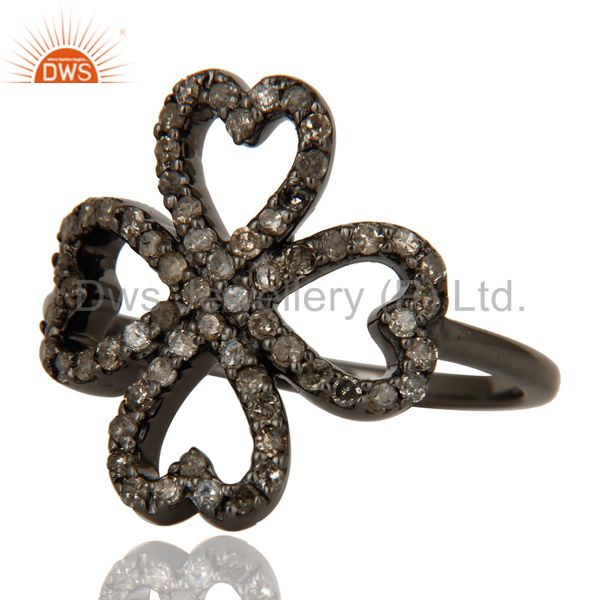 Suppliers Pave Diamond Heart Design Oxidized Sterling Silver Ring