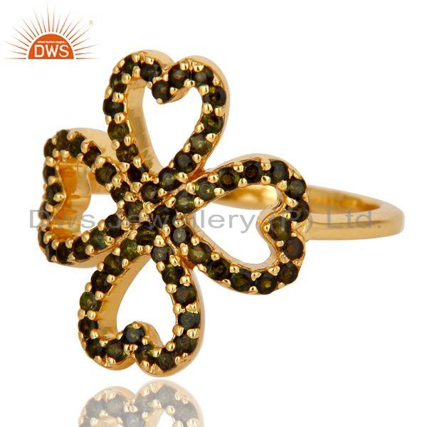 Suppliers 18k Gold Plated Tourmaline Flower Design 925 Sterling Silver Ring