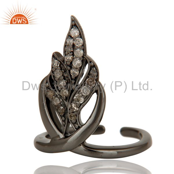 Suppliers Black Oxidized Sterling Silver and Diamond Leaf Design Midi Ring