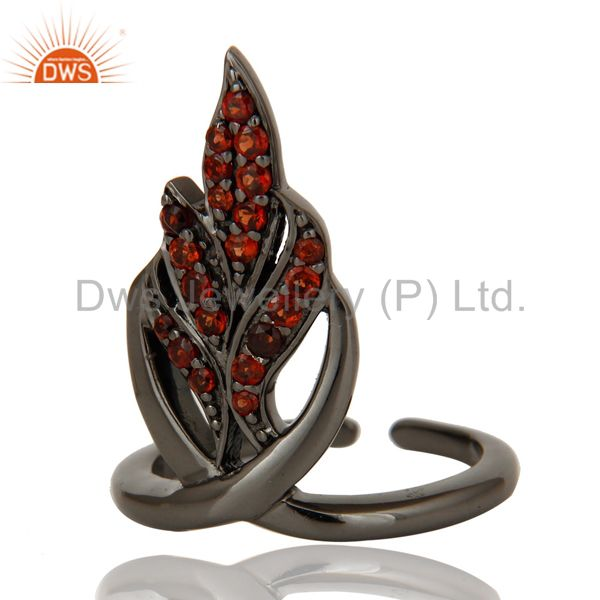 Suppliers Black Oxidized Sterling Silver and Garnet Leaf Design Midi Ring