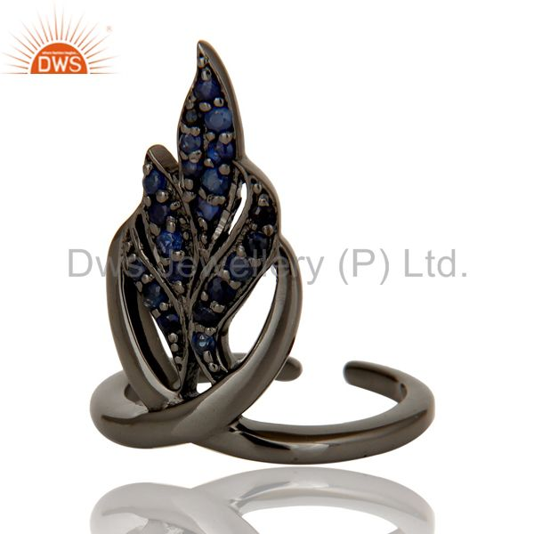 Suppliers Black Oxidized Sterling Silver and Blue Sapphire Leaf Design Midi Ring