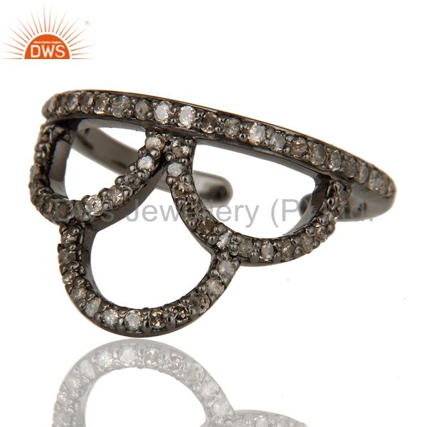 Suppliers Black Oxidized Sterling Silver and Diamond Crown Design Midi Ring