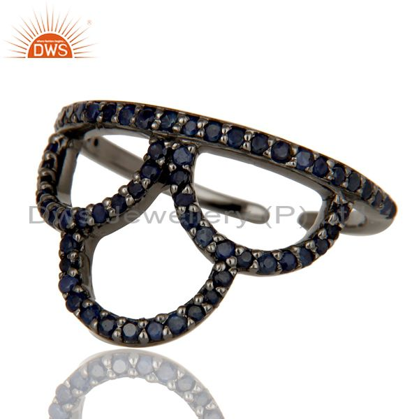 Suppliers Black Oxidized Sterling Silver and Blue Sapphire Crown Design Midi Ring