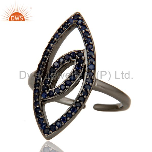 Suppliers High Polish Black Oxidized Sterling Silver Blue Sapphire Statement Midi Ring