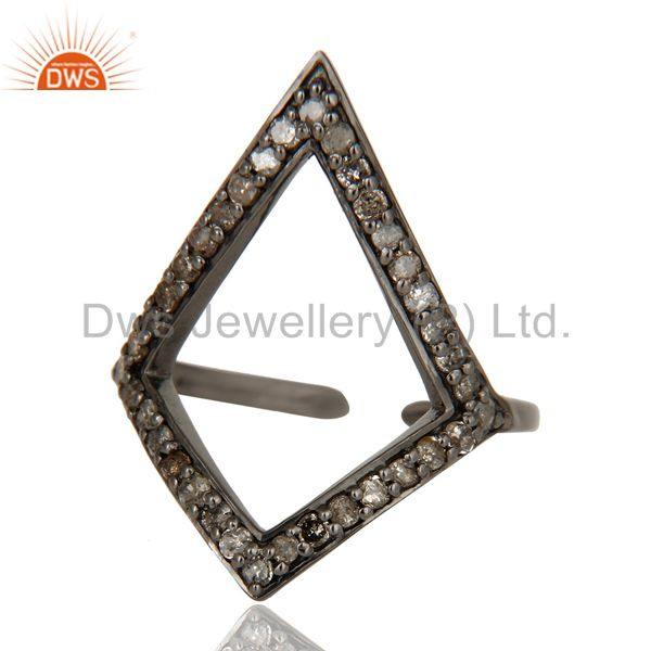 Suppliers Diamond and Oxidized Sterling Silver Tringle Shape Midi Ring