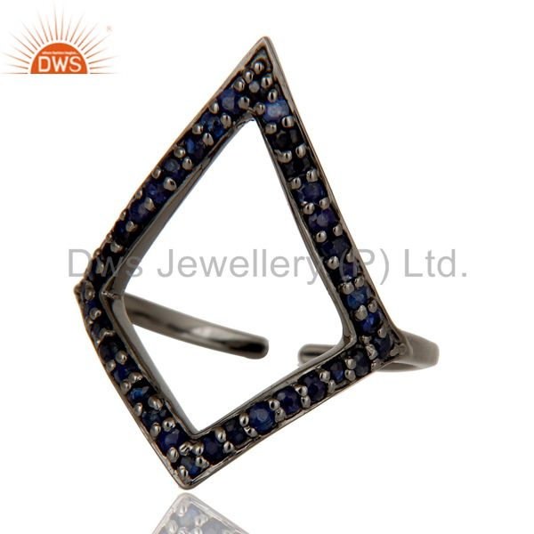 Suppliers Blue Sapphire and Oxidized Sterling Silver Tringle Shape Midi Ring