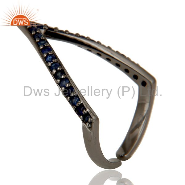 Suppliers Black Oxidized 925 Sterling Silver Handmade Natural Iolite Midi Ring Jewelry