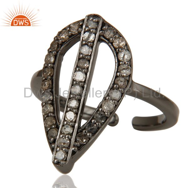 Suppliers Diamond and Oxidized Sterling Silver Peace Sign Midi Ring