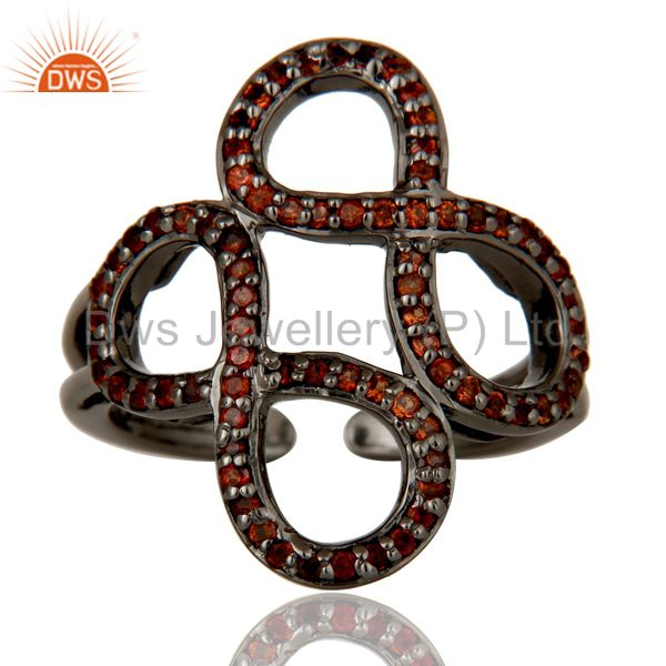 Suppliers Garnet Black Oxidized Sterling Silver Infinity Midi Ring