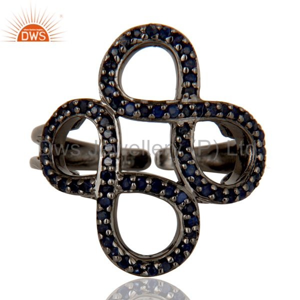 Suppliers Blue Sapphire Black Oxidized Sterling Silver Infinity Midi Ring