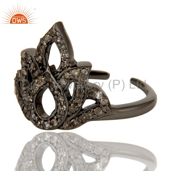 Suppliers Diamond Black Oxidized Sterling Silver Crown Midi Ring