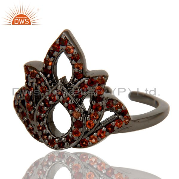 Suppliers Garnet Black Oxidized Sterling Silver Crown Midi Ring