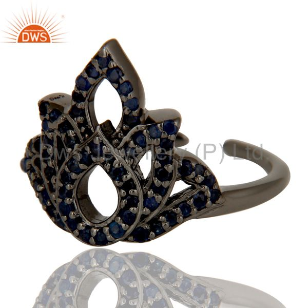 Suppliers Blue Sapphire Black Oxidized Sterling Silver Crown Midi Ring