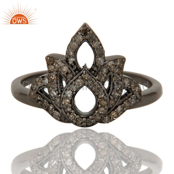 Suppliers Crown Design Diamond and Oxidized Sterling Silver Beautiful Ring