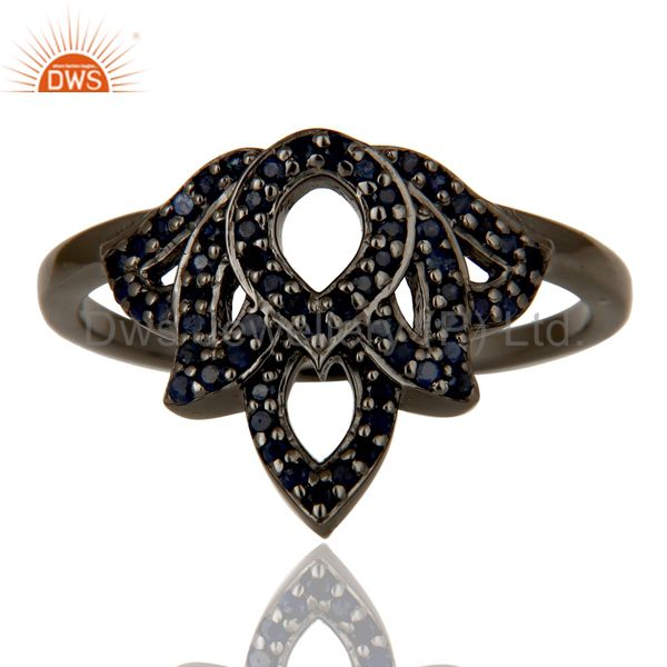 Suppliers Crown Design Blue Sapphire and Oxidized Sterling Silver Beautiful Ring