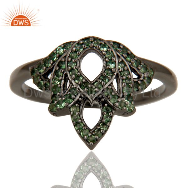 Suppliers Crown Design Tsavourite and Oxidized Sterling Silver Beautiful Ring