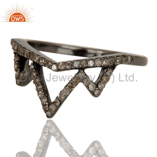 Suppliers Crown Design Diamond Ring Black Oxidized Sterling Silver Loving Ring