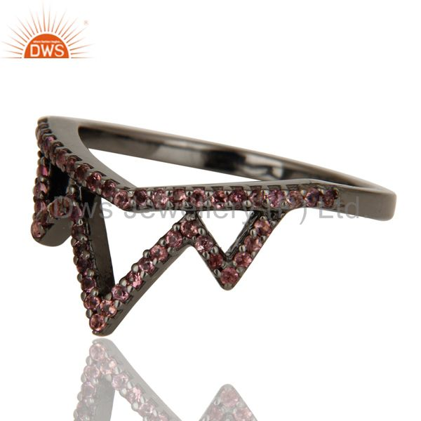 Suppliers Crown Design Pink Tourmaline Ring Black Oxidized Sterling Silver Loving Ring