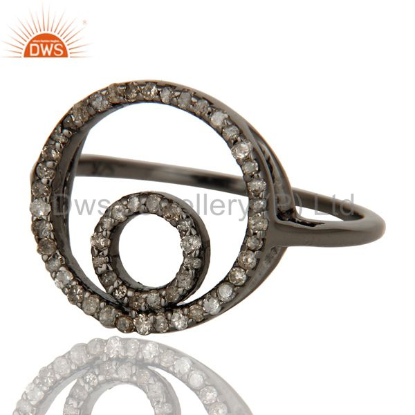 Suppliers Round Design Pave Diamond Ring Black Oxidized Sterling Silver Loving Ring