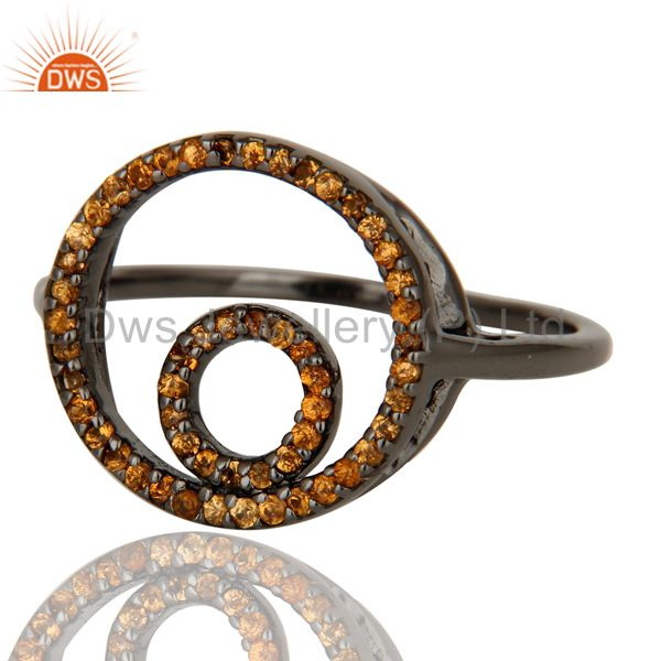 Suppliers Round Design Spessartite Ring Black Oxidized Sterling Silver Loving Ring