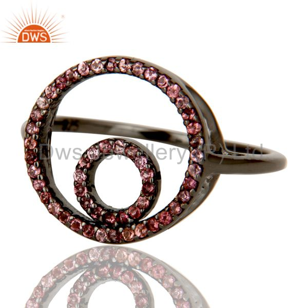 Suppliers Designer Pink Tourmaline Ring Black Oxidized Sterling Silver Loving Ring