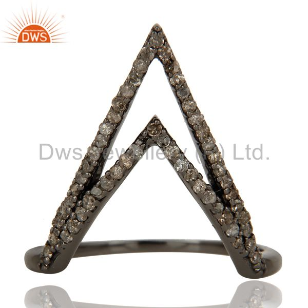 Suppliers Diamond and Oxidized Sterling Silver Designer Lovely Ring