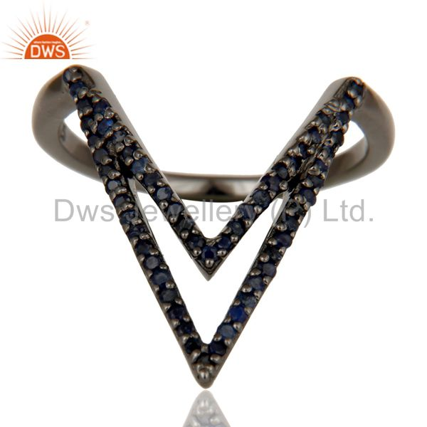 Suppliers Blue Sapphire and Oxidized Sterling Silver Designer Lovely Ring