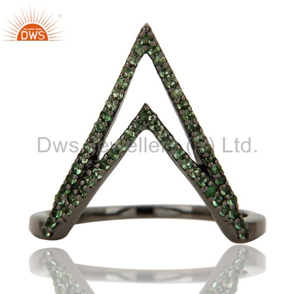 Suppliers Tsavourite and Oxidized Sterling Silver Designer Lovely Ring
