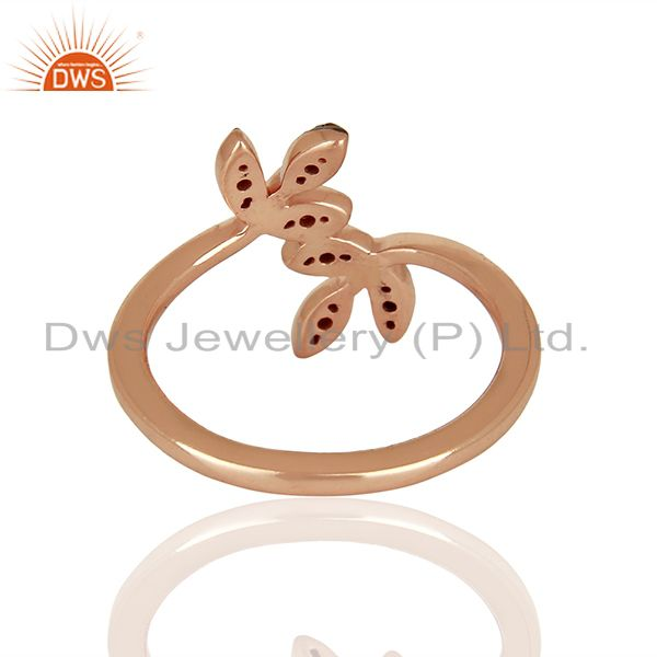 Suppliers Leaf Shape Pave Diamond 925 Silver Wedding Gift Rings Jewelry Supplier