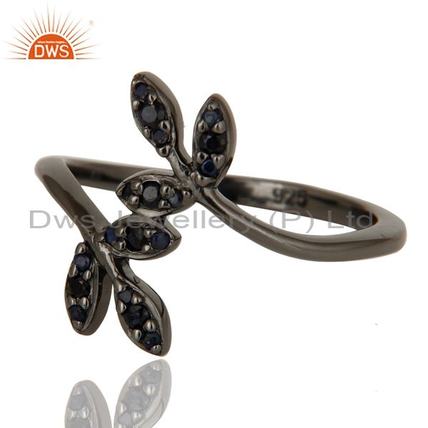 Suppliers Blue Sapphire and Black Oxidized Leaf Designer Sterling Silver Ring