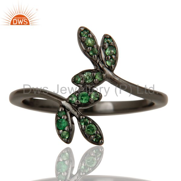 Suppliers Tsavourite and Black Oxidized Leaf Designer Sterling Silver Ring