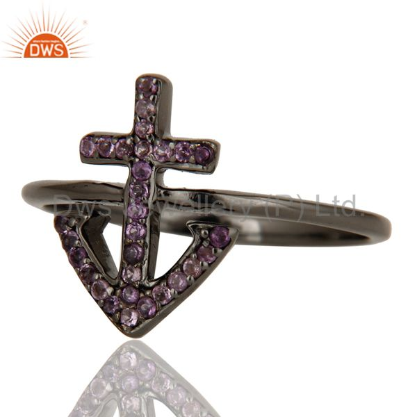 Suppliers Amethyst and Oxidized Sterling Silver Cross Sign Statement Ring