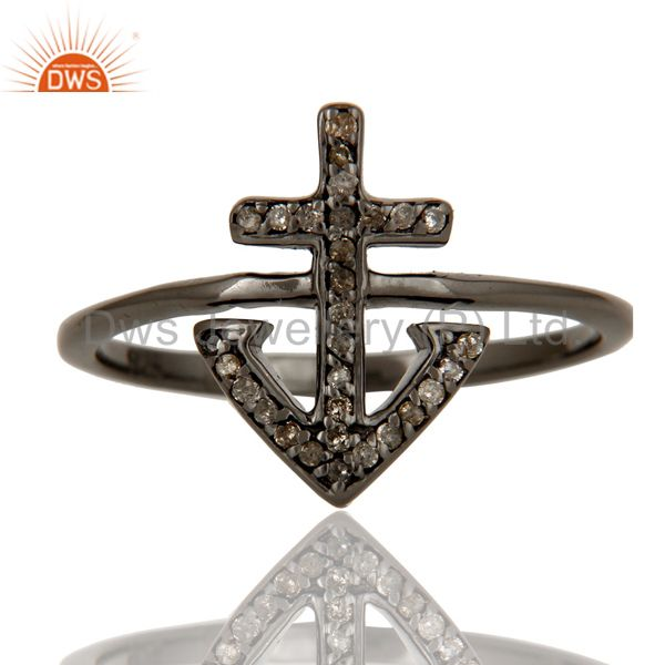 Suppliers Pave Diamond Oxidized 925 Sterling Silver Cross Design Statement Ring Jewelry