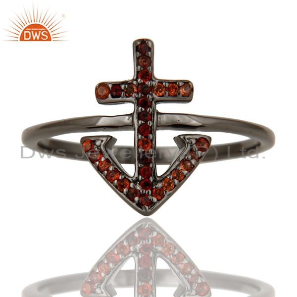 Suppliers Garnet and Oxidized Sterling Silver Cross Sign Statement Ring