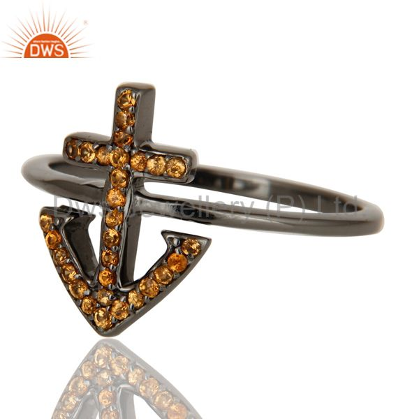 Suppliers Spessartite and Oxidized Sterling Silver Cross Sign Statement Ring