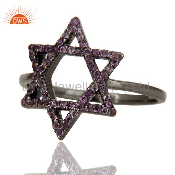 Suppliers Amethyst and Oxidized Sterling Silver Star Design Ring