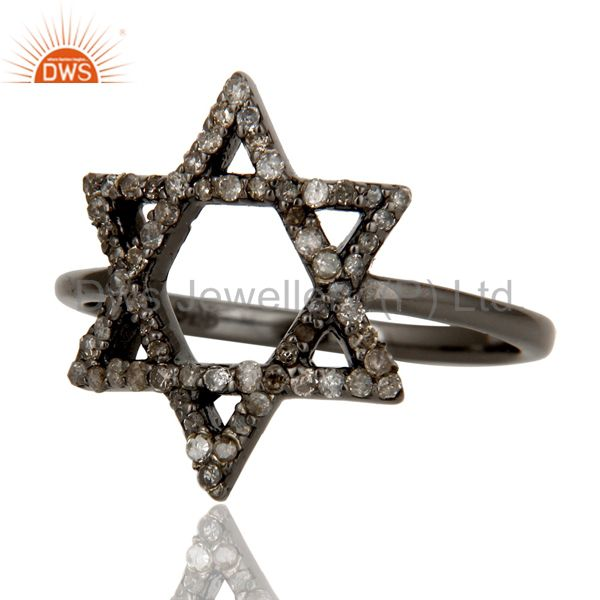 Suppliers Pave Diamond and Oxidized Sterling Silver Star Design Ring