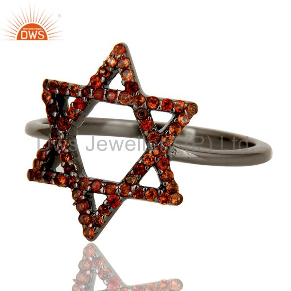 Suppliers Garnet and Oxidized Sterling Silver Star Design Ring