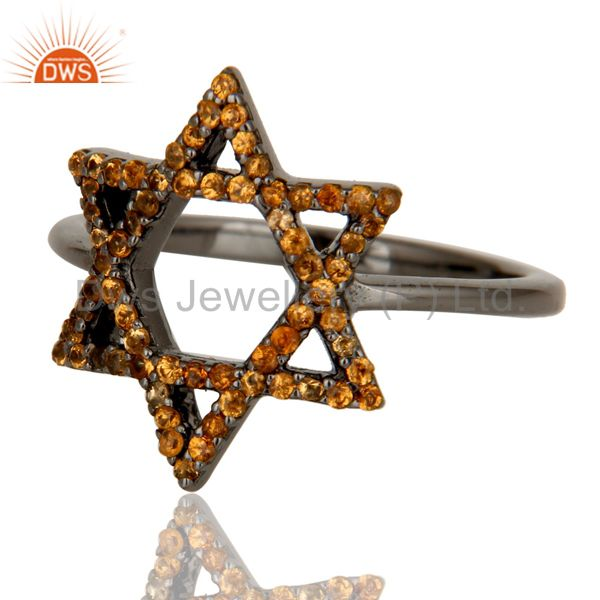 Suppliers Spessartite and Oxidized Sterling Silver Star Design Ring