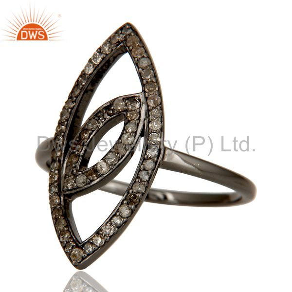Suppliers Oxidized Sterling Silver and Diamond Studded Ring Designer Jewelry
