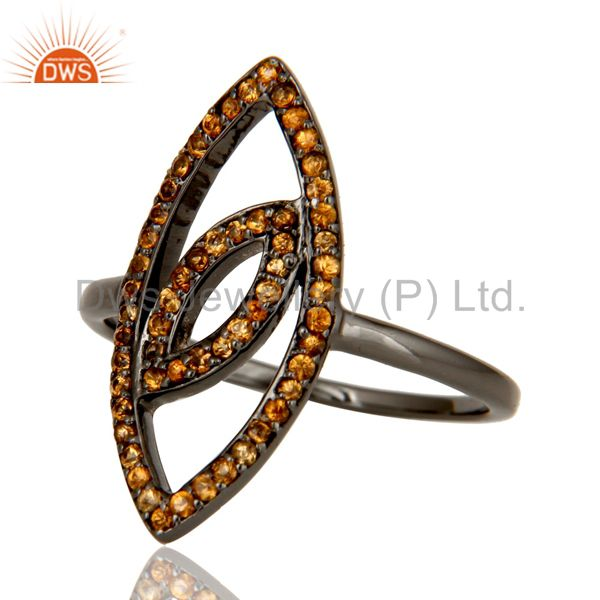 Suppliers Oxidized Sterling Silver and Spassartite Studded Ring Designer Jewelry