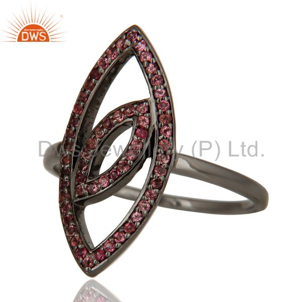 Suppliers Oxidized Sterling Silver and Pink Tourmaline Studded Ring Designer Jewelry