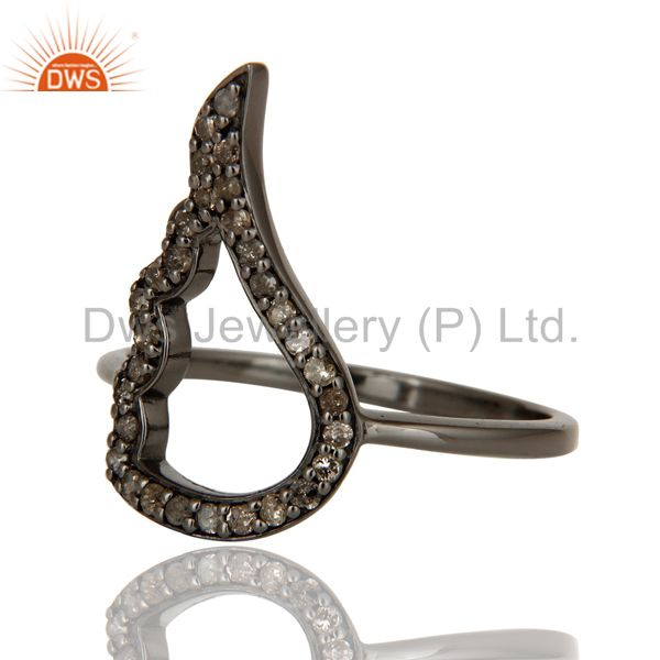 Suppliers Wing Style Diamond and Oxidized Sterling Silver Jewelry Ring