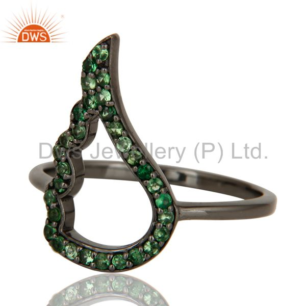 Suppliers Wing Style Tsavourite and Oxidized Sterling Silver Jewelry Ring