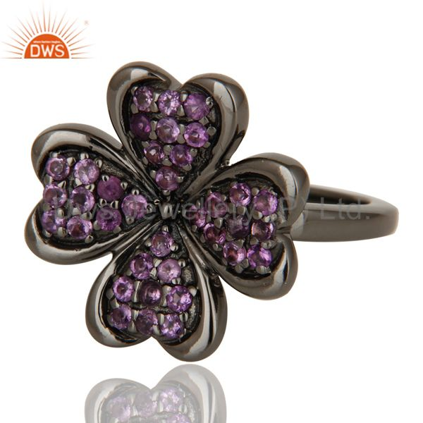 Suppliers Flower Style Amethyst and Oxidized Sterling Silver Jewelry Ring