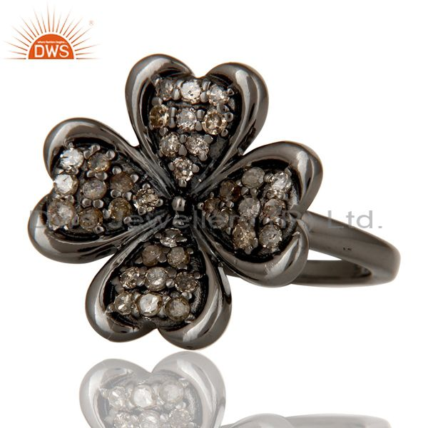 Suppliers Diamond and Oxidized Sterling Silver Flower Design Ring
