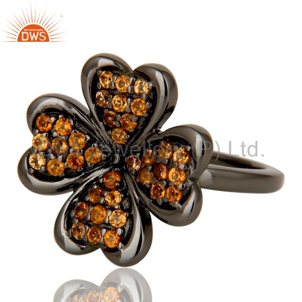 Suppliers Spessartite and Oxidized Sterling Silver Flower Design Ring